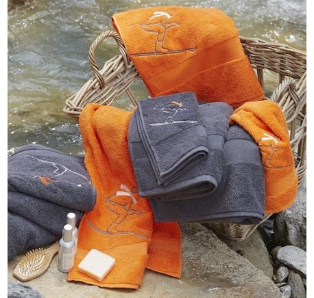 SYLVIE THIRIEZ Collection SKI KUMQUA Orange, Drap de Bain, Serviette, Tapis de Bain, Gant de Toilette - Linge de maison - Lecomptoirdesauthentics
