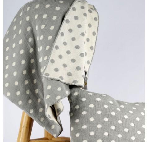 Plaid tricoté Réversible Gris à pois blanc