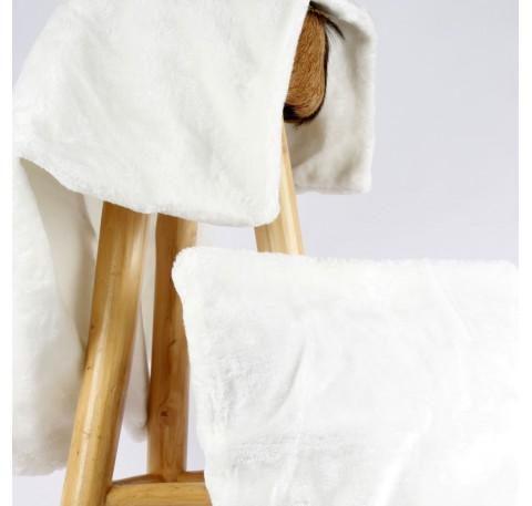 Housse de coussin fourrure blanche  50 x 50 cm en