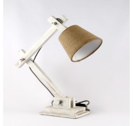 Lampe en bois blanc patiné  - Luminaire - Lecomptoirdesauthentics