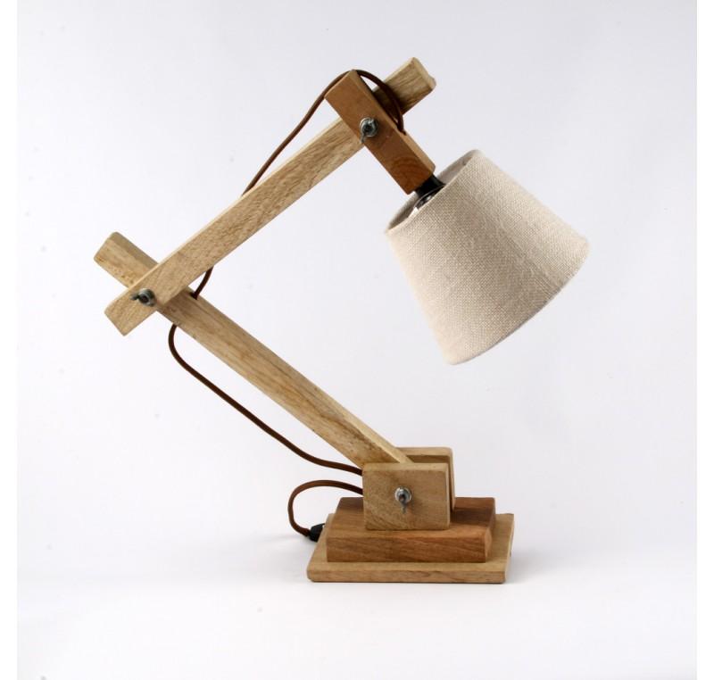 Lampe de chevet ou bureau en bois naturel luminaire - Lampe de bureau bois ...