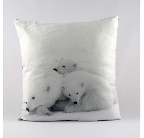coussin t te de loup blanc coussin linge de maison lecomptoirdesauthentics. Black Bedroom Furniture Sets. Home Design Ideas