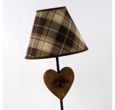 Lampe motif coeur abat-jour carreaux - Luminaire - Lecomptoirdesauthentics