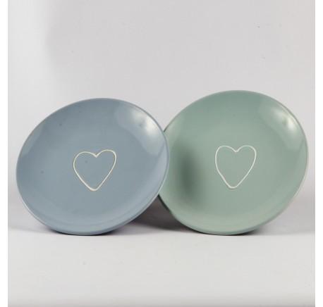 Set 6 Assiettes à dessert COEUR porcelaine Bleu et Vert - Vaisselle - Lecomptoirdesauthentics
