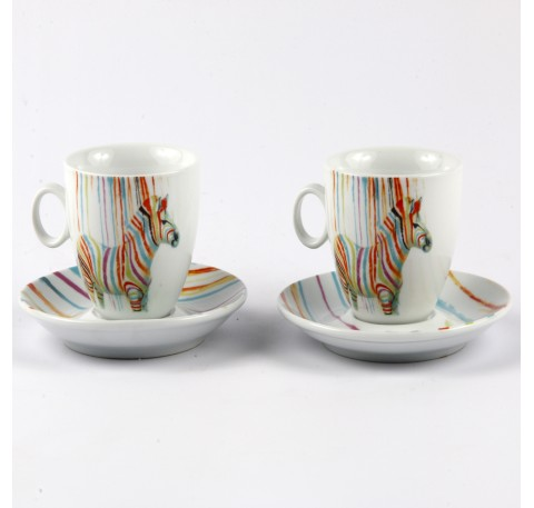 Lot 2 tasses Expresso Zèbre Pop Art