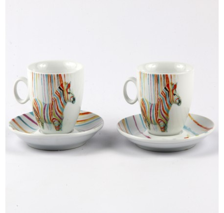 Lot 2 tasses Expresso Zèbre Pop Art - Vaisselle - Lecomptoirdesauthentics