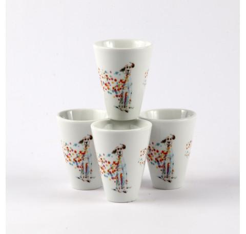 SET 4 Gobelets Tasses Expresso CHIEN PopArt