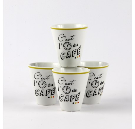 Set 4 Tasses à Café expresso C'EST L'HEURE - Vaisselle - Lecomptoirdesauthentics