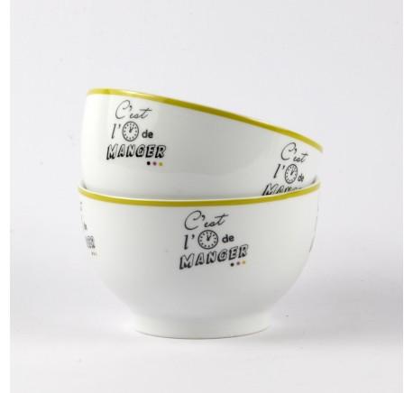 Lot de 2 Bols  C'EST L'HEURE - Vaisselle - Lecomptoirdesauthentics
