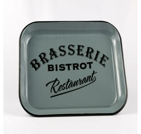 Plateau Rectangle BRASSERIE BISTROT Bleu - Déco vintage - Lecomptoirdesauthentics
