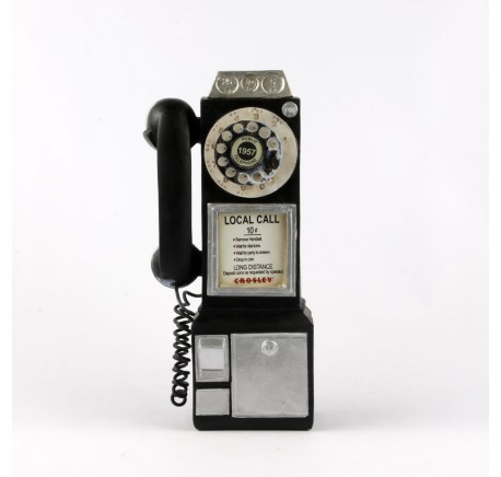 Figurine TELEPHONE VINTAGE noir - Déco vintage - Lecomptoirdesauthentics