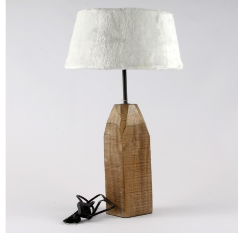 Lampe Base bois Abat Jour FOURRURE Grand Modèle