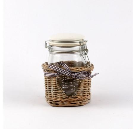 POT Conserve COEUR  Verre Rotin - Vase, cache pot, fleur - Objet déco Maison - Lecomptoirdesauthentics
