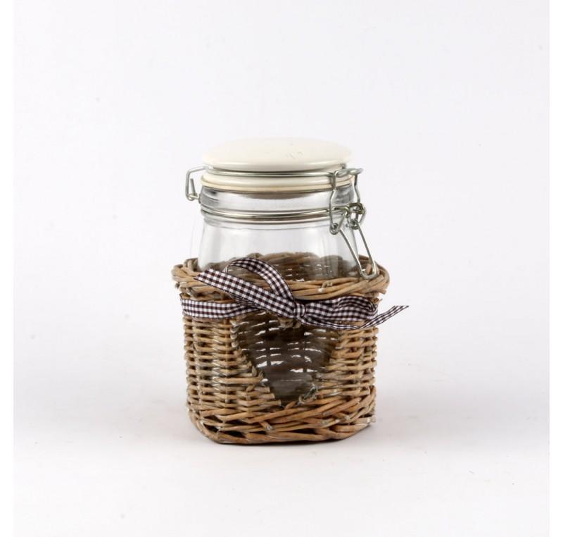 pot conserve coeur verre rotin vase cache pot fleur objet d co maison. Black Bedroom Furniture Sets. Home Design Ideas