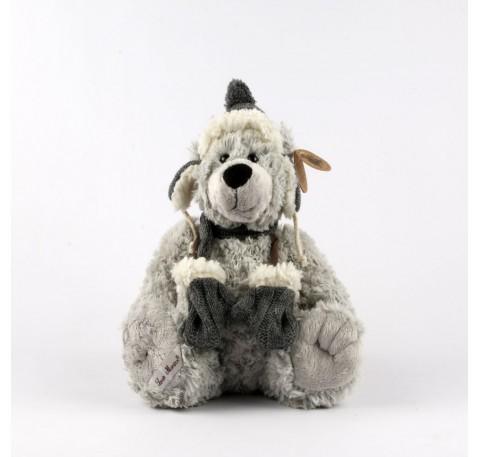 Peluche Ours gris COLIN  33 cm Bonnet, Moufles et Echarpe en Laine