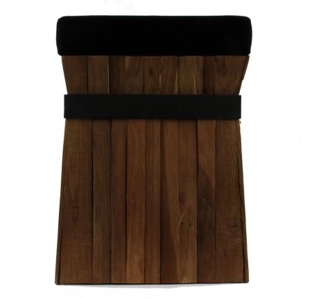 Pouf Tabouret TECK Massif Assise Velours Noir carré - Chaise, tabouret, pouf - Meubles bois - Lecomptoirdesauthentics