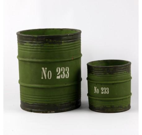 Pot Tonneau Vintage FACTORY  21cm vert Objet décoratif. - Décoration Vintage - Lecomptoirdesauthentics