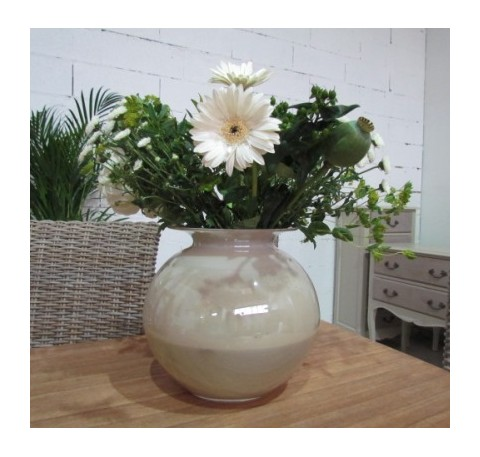 Vase en Verre  Rond couleur Beige
