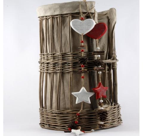 Guirlande coeur et étoile Déco en bois Blanc 65 cm.