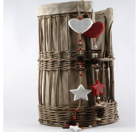 Guirlande coeur et étoile Déco en bois Blanc 65 cm - Décoration NOEL - Lecomptoirdesauthentics