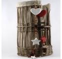Guirlande coeur et étoile Déco en bois Blanc 65 cm