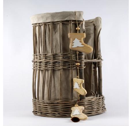 Décoration Bottes en bois naturel à suspendre 80cm - Décoration de Noël  - Lecomptoirdesauthentics