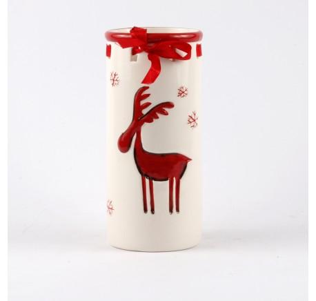 POT Vase CERF Blanc Rouge 22 CM - Décoration de Noël  - Lecomptoirdesauthentics