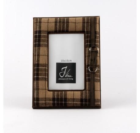 Cadre photo en bois et textile marron - Cadre, miroir, tableau - Objet déco Maison - Lecomptoirdesauthentics