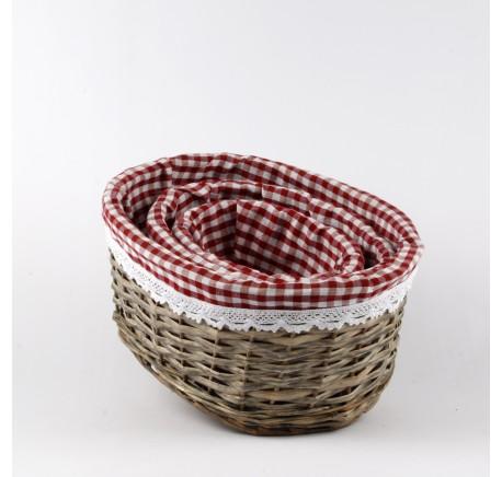Set 3 Paniers Rotin Oval Tissu Vichy Rouge - Objet déco Maison - Lecomptoirdesauthentics
