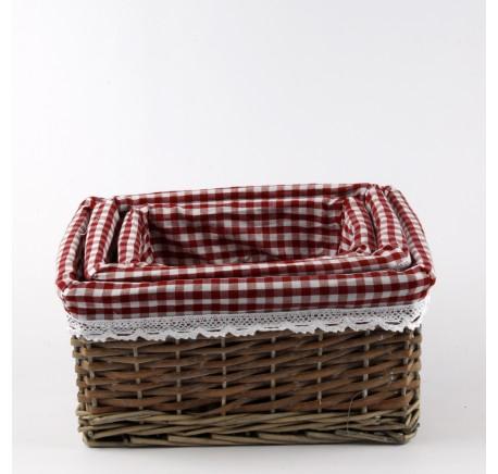 Set 3 Paniers Rotin Rectangle Tissu Vichy - Objets déco maison - Lecomptoirdesauthentics