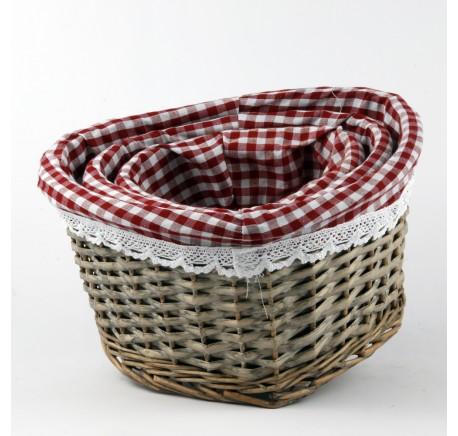 Set 3 Paniers Rotin Coeur Tissu Vichy - Objet déco Maison - Lecomptoirdesauthentics