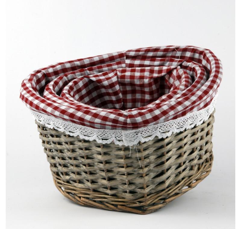 set 3 paniers rotin coeur tissu vichy objet d co maison. Black Bedroom Furniture Sets. Home Design Ideas