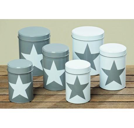 Set 3 Boîtes à Rangement Collection STAR  Blanche Etoile Grise - Contenant/ bocal - Lecomptoirdesauthentics