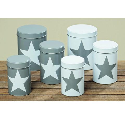 Set 3 Boîtes à Rangement Collection STAR  Gris Etoile Blanche