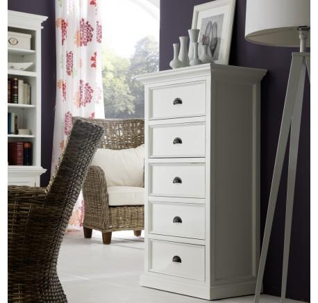 Commode Bois Blanc 5 tiroirs Collection LEIRJFORD 90 x 130 HT - Commode - Chambre à coucher - Lecomptoirdesauthentics