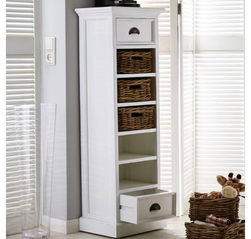 colonne 5 paniers rotins 2 tiroirs en bois blanc leirfjord colonne de rangement meubles bois. Black Bedroom Furniture Sets. Home Design Ideas