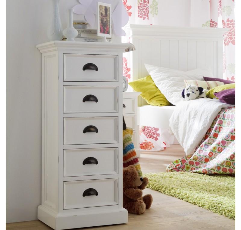 colonne commode 5 tiroirs collection leirfjord bois blanc colonne de rangement meubles bois. Black Bedroom Furniture Sets. Home Design Ideas