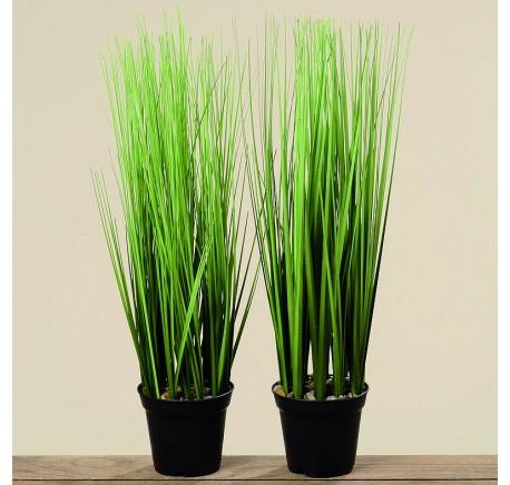 Set 2 PLANTES Herbe en Pot synthétique petit - Objets déco maison - Lecomptoirdesauthentics