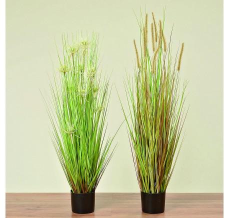 Set 2 PLANTES Herbe en Pot synthétique grand - Objets déco maison - Lecomptoirdesauthentics