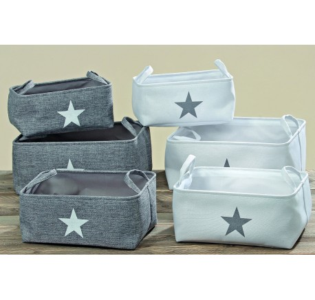 Set 3 Corbeilles Rangement Grise Collection STAR  - Linge de maison - Lecomptoirdesauthentics