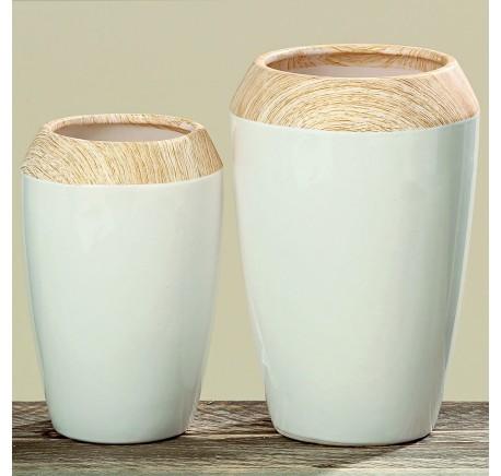 Vase TIA Dolomite Blanc H21 - Vase, cache pot, fleur - Objet déco Maison - Lecomptoirdesauthentics