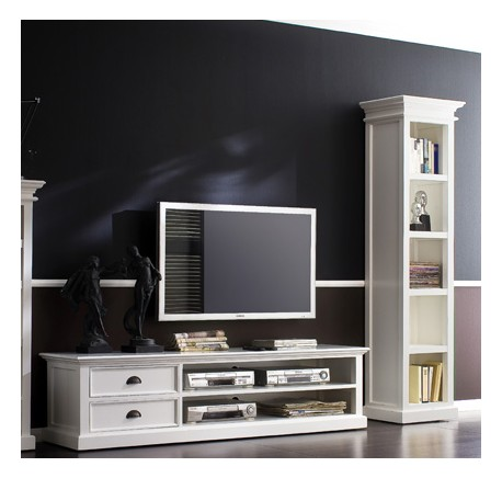 meuble tv en bois blanc leirfjord 120 cm meuble tv meubles bois lecomptoirdesauthentics. Black Bedroom Furniture Sets. Home Design Ideas