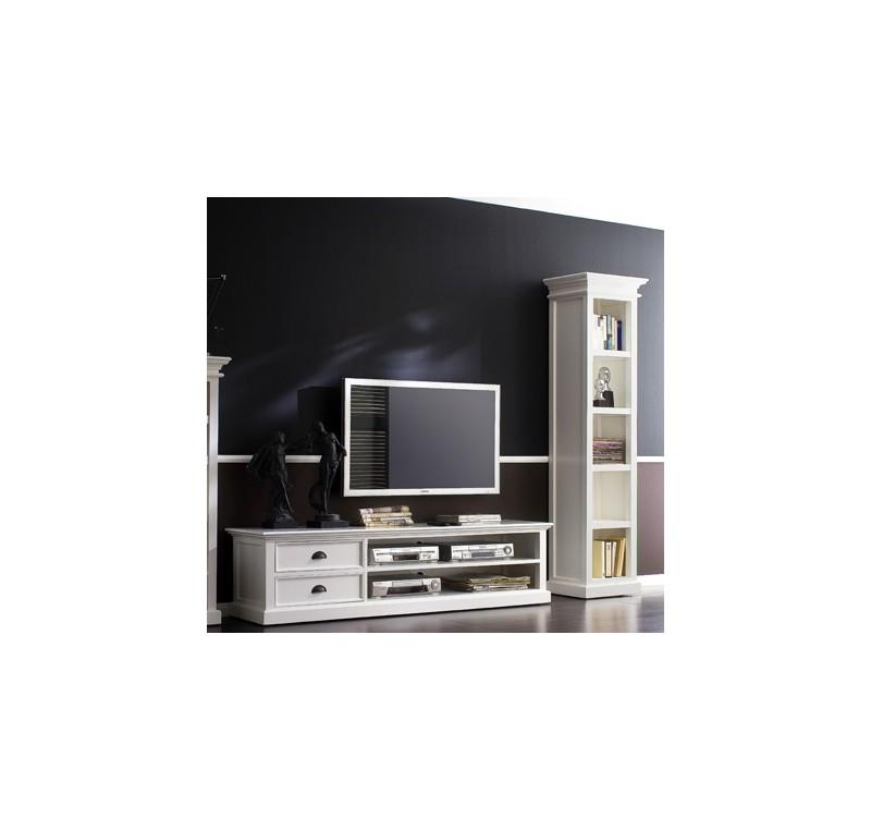 Meuble tv en bois blanc leirfjord 120 cm meuble tv for Meuble tv bois 120 cm
