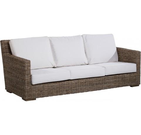 Canapé TOSCA 3 places en rotin tressé avec coussins 200 x 77