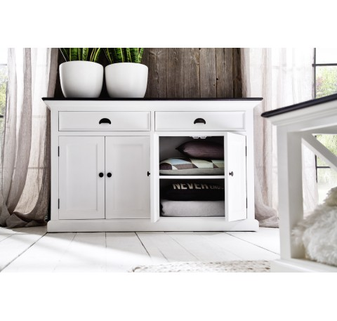 Buffet Commode Bois Blanc Collection LEIRFJORD Contrast 4 Portes 2 Tiroirs