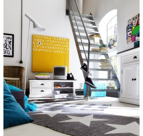 Meuble TV en bois blanc LEIRFJORD Contrast 120 cm - Meubles TV - Salle à manger - séjour - Meubles - Lecomptoirdesauthentics