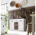 Buffet Commode Bois Blanc Collection LEIRFJORD Contrast 2 Portes 2 Paniers Rotins