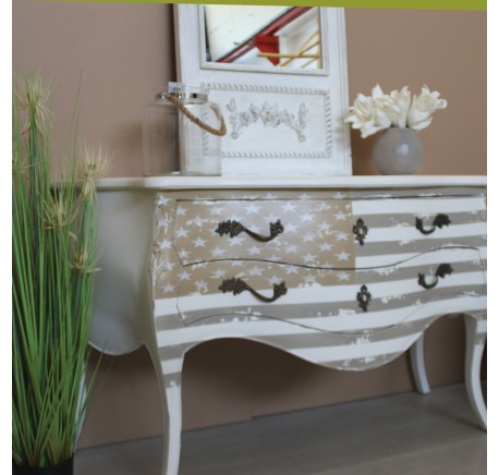 Commode Bois Blanc Collection AMERICA  -  - Lecomptoirdesauthentics