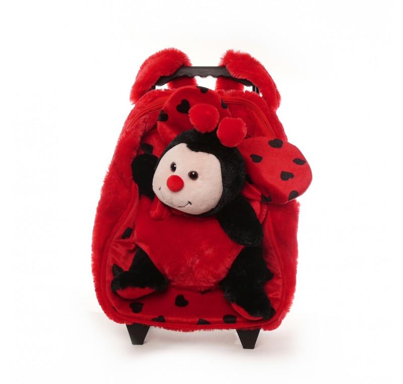 valise enfant et sa peluche coccinelle peluche doudou. Black Bedroom Furniture Sets. Home Design Ideas
