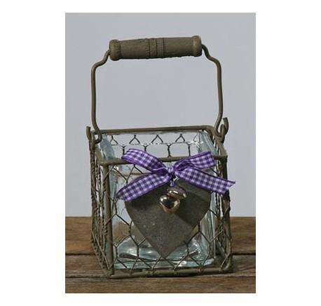 Photophore en métal et verre coeur en bois - Photophore, lanterne - Objet déco Maison - Lecomptoirdesauthentics